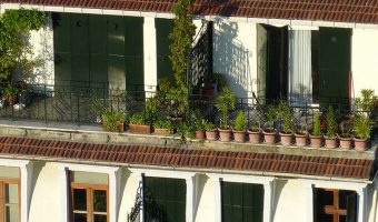 Container gardening on balcony to save space