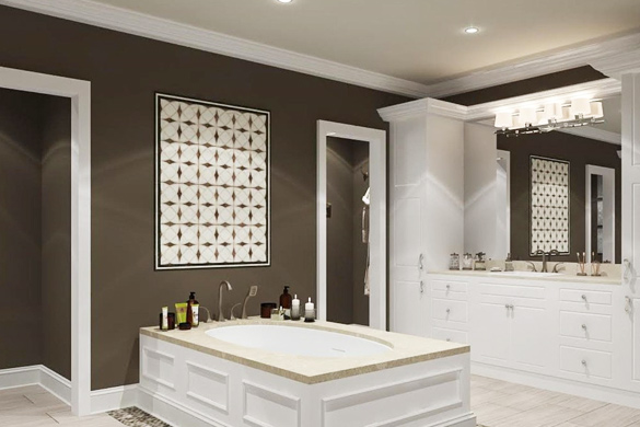 Bathroom design and decorating accent wall