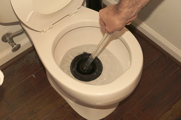 fully depressed plunger in a clogged toilet bowl