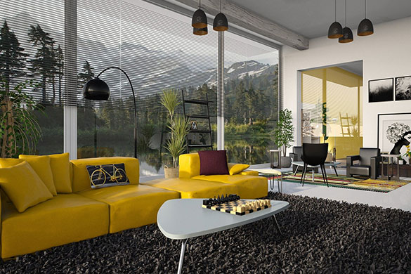 Living room architecture and high contrast design with floor to ceiling windows