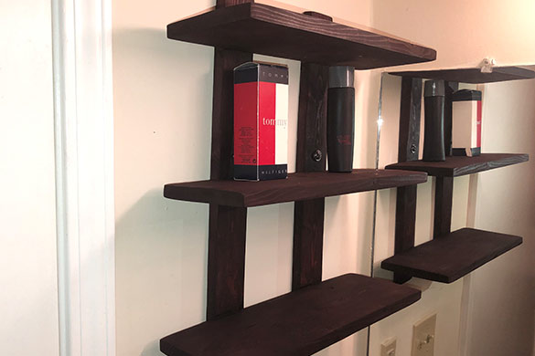 Completed and hung DIY wall mounted shelving unit