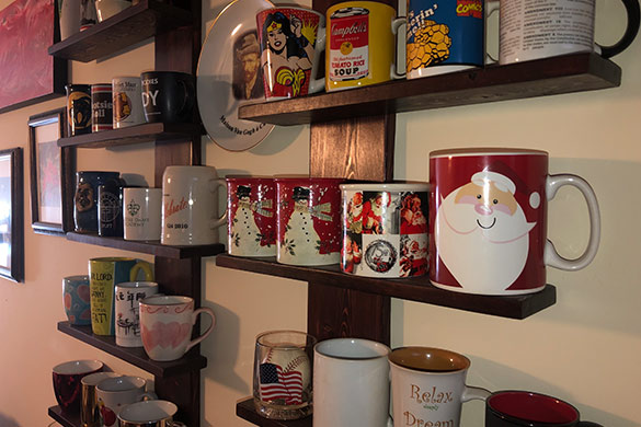 Wall mounted coffee mug collection display shelving