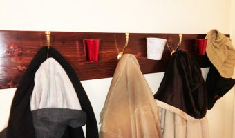 DIY wall mounted coat rack with storage